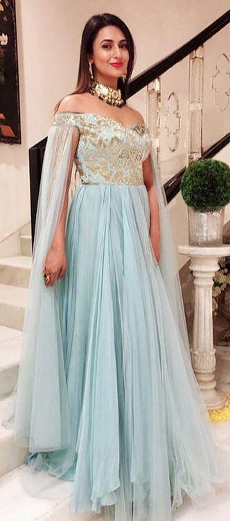 Alluring Divyanka Tripathi Zari Work Light Blue Indo Western Gown