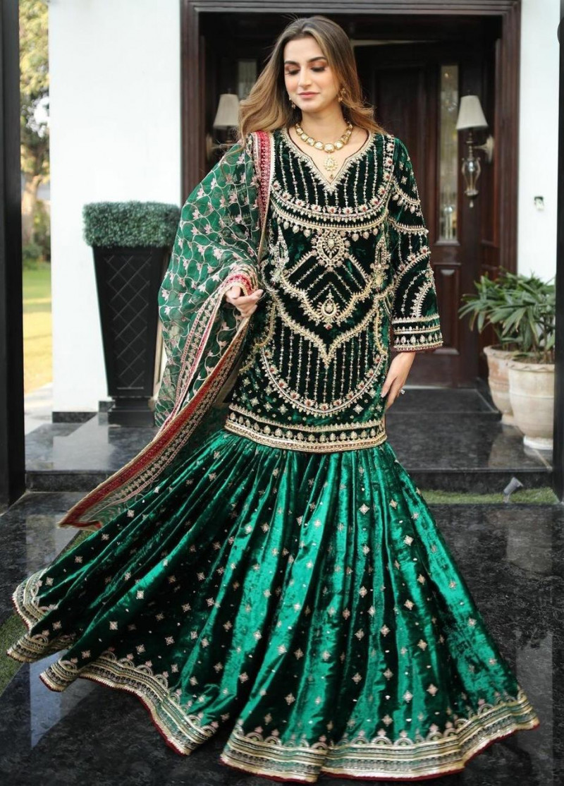 Appealing Green Colour Sharara Suit