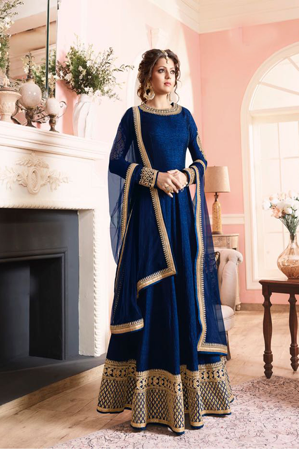 Drashti Dhami Latest Indian Designer Blue Color Anarkali Salwar Kameez Dress