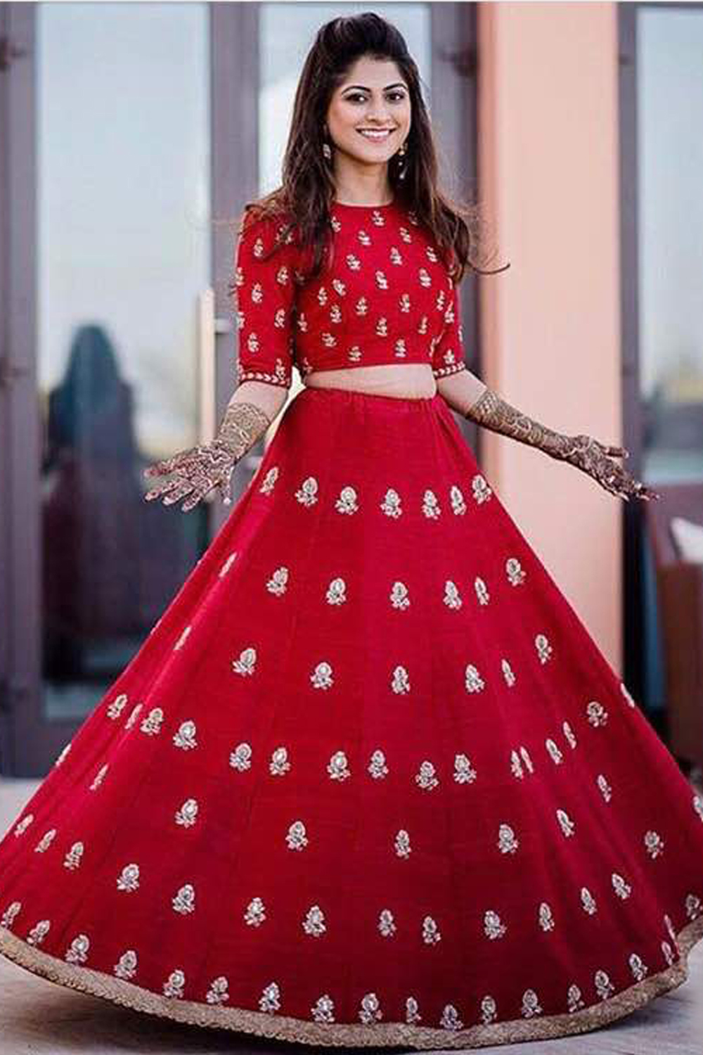 Designer Red Heavy Work In Banglori Silk Bridal Lehenga Choli