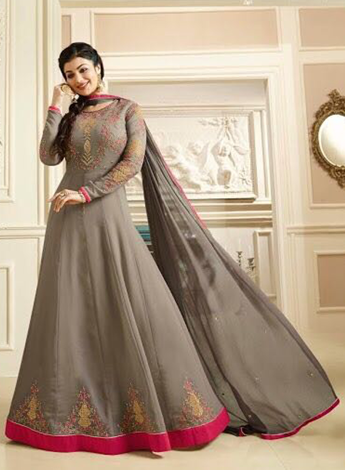Ayesha Takia Georgette Gray Embroidered Long Anarkali Suit