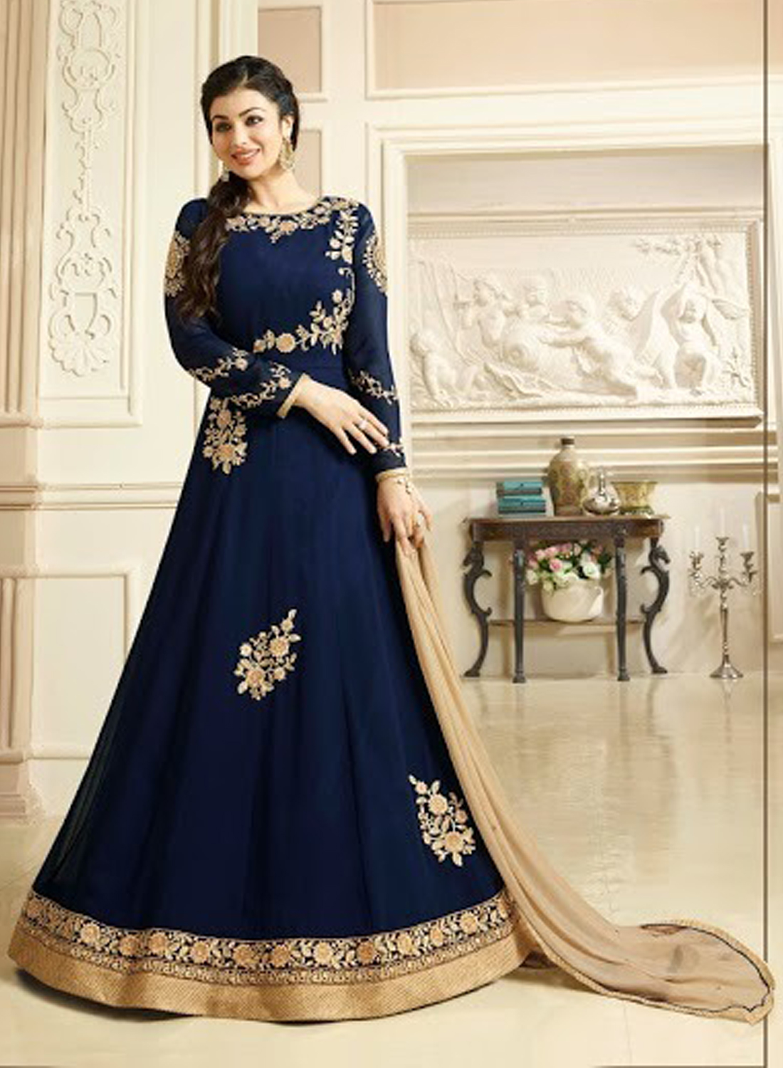 Ayesha Takia Georgette Blue Embroidered Long Anarkali Suit