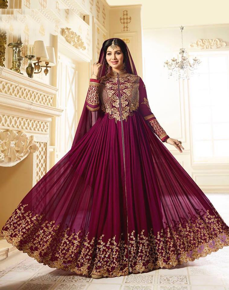 Ayesha Takia Stunning Purple Color Designer Embroidered Partywear Faux Georgette Anarkali Suit