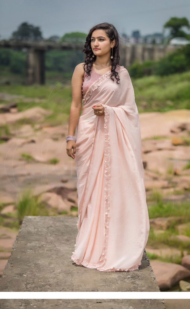Rose Dust Saree With Georgette Pearls' Embroidered Blouse