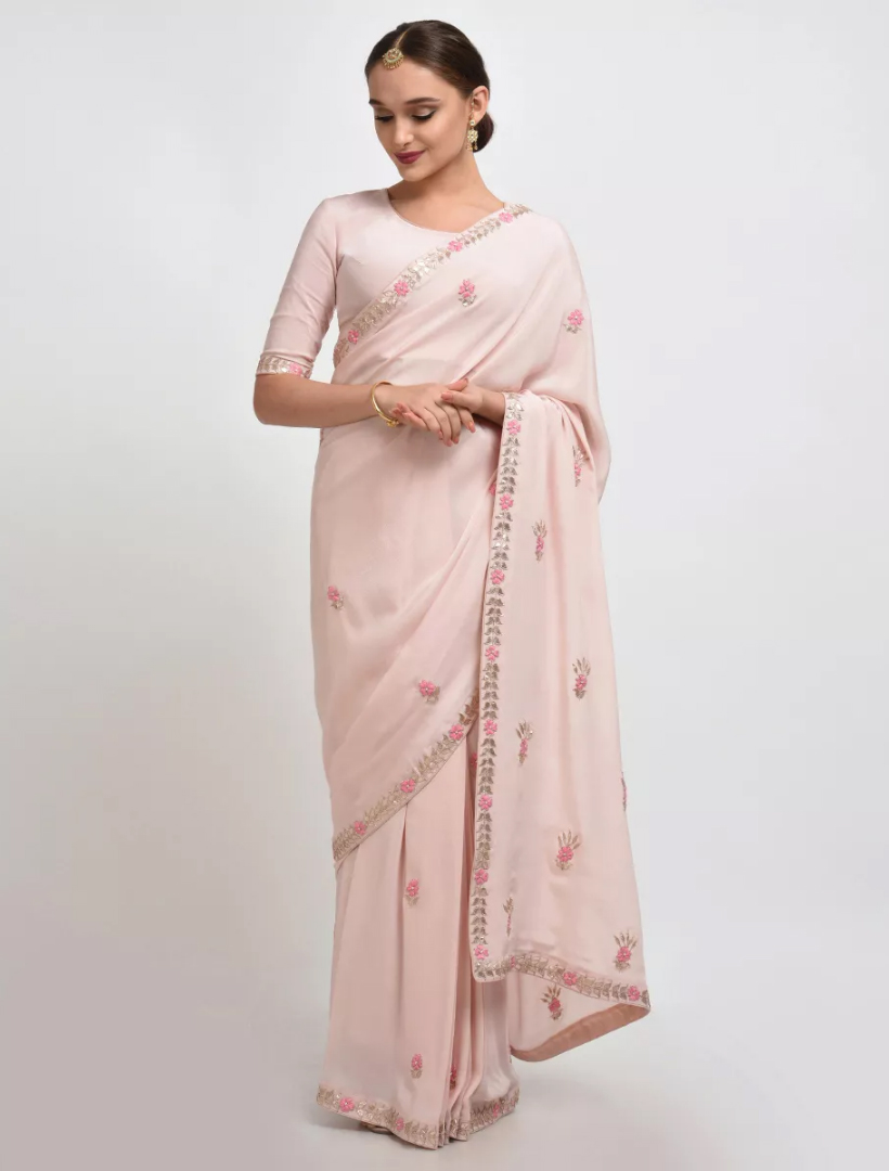 Designer Saree With Georgette Pearls' Embroidered