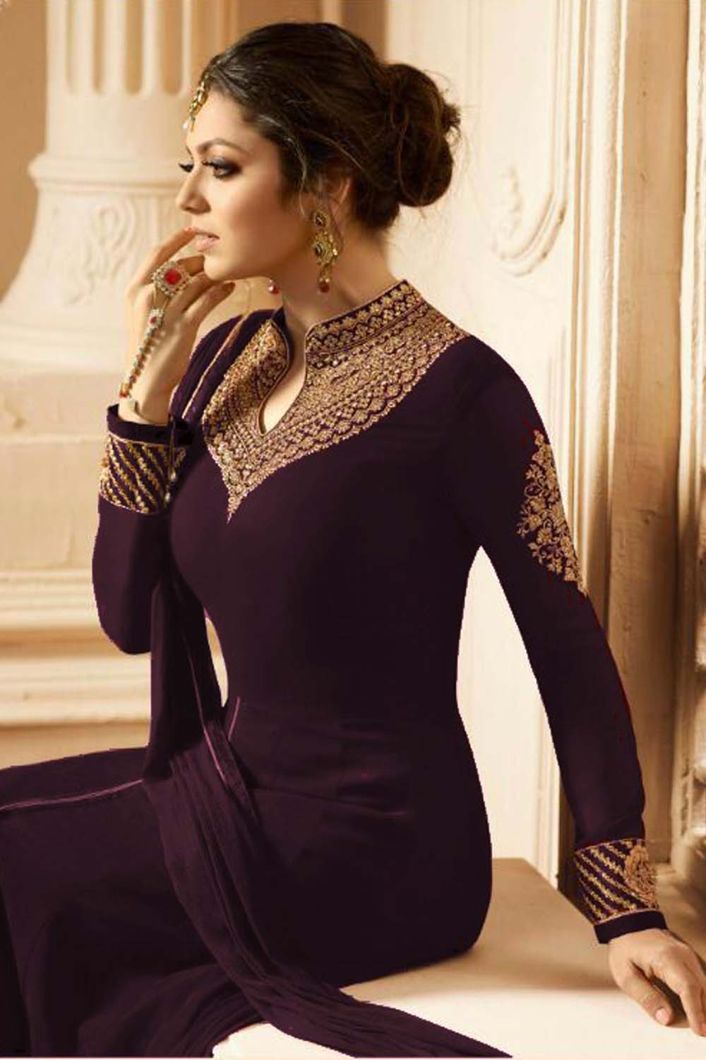 Drashti Dhami New Designer Faux Embroidered With Dupatta Wine Suit