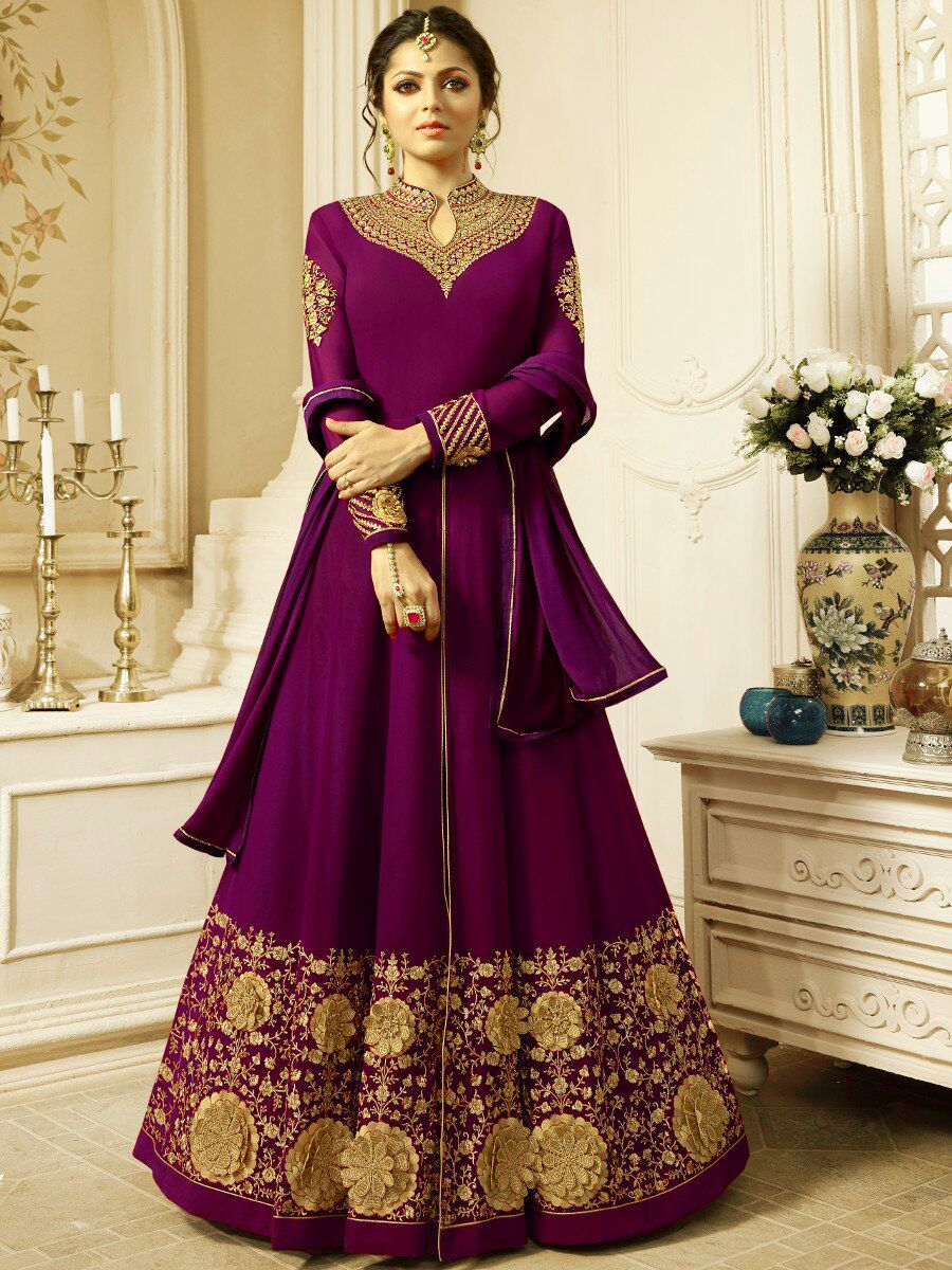New Drashti Dhami Designer Faux Embroidered With Dupatta Purple Suit