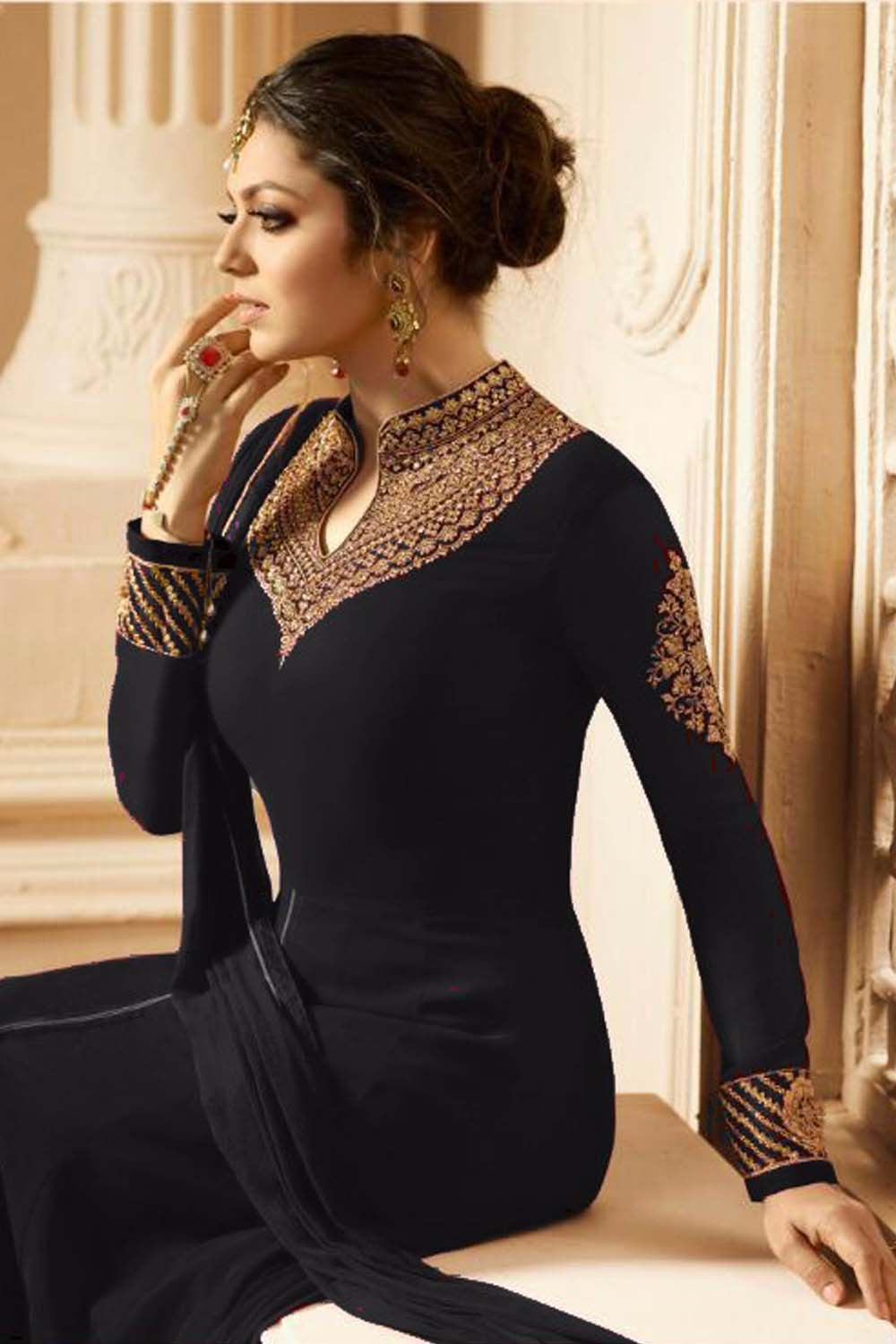 New Designer Faux Drashti Dhami  Embroidered With Dupatta Black Suit
