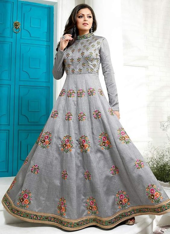 Designer Gray Albela Silk Long Semi-Stitched Suit