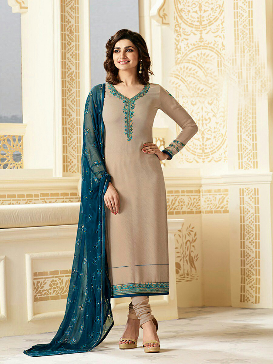 Prachi Desai Designer Cream Color  Georgette Anarkali Suit