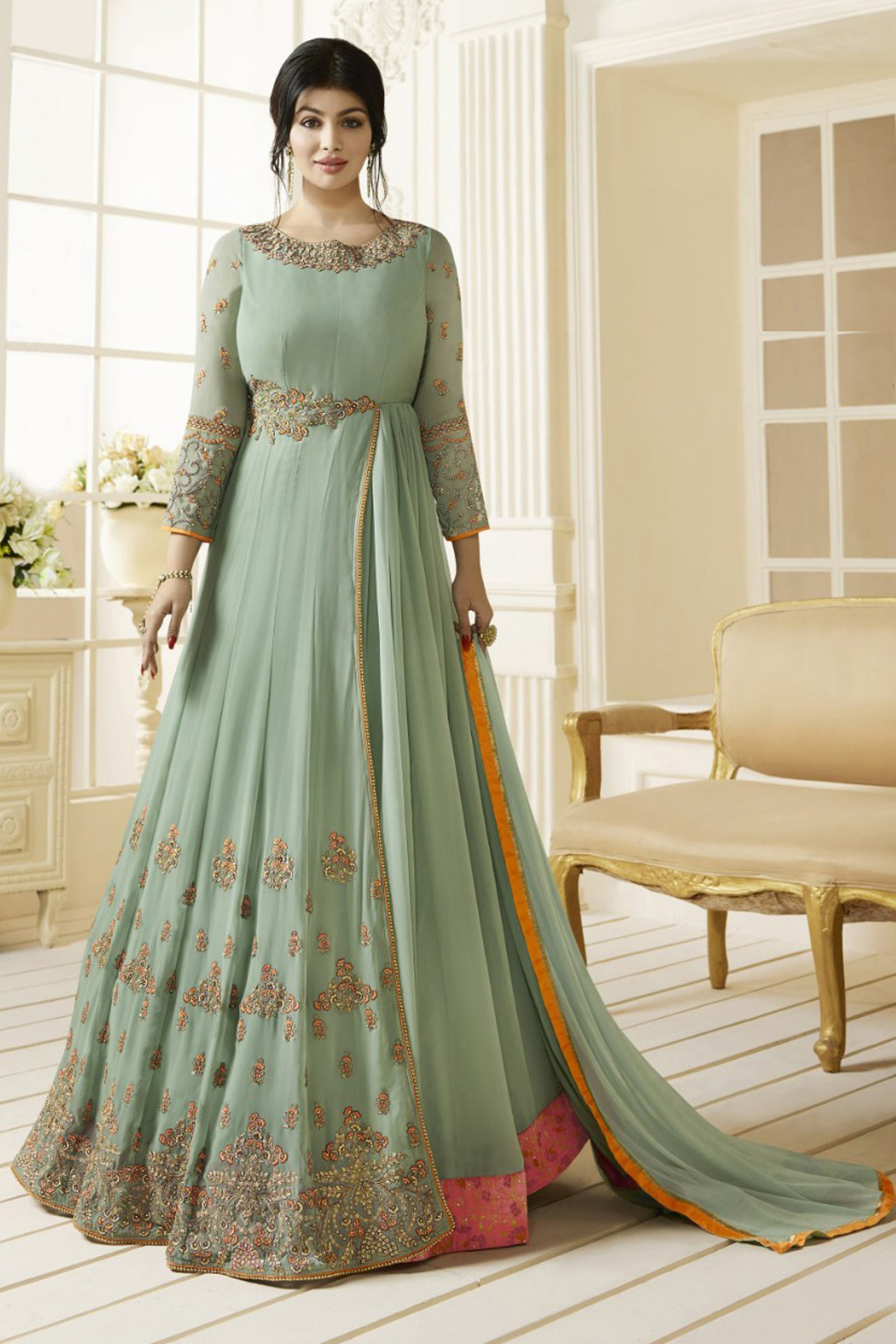 Ayesha Takia Dark Sea Green Georgette Anarkali Suit