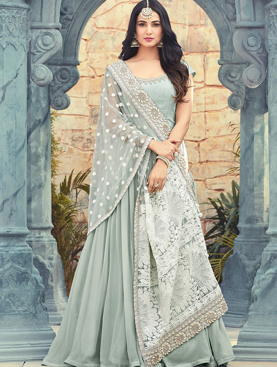 Faux Georgette Gray Indian Dress With Heavy Dupatta
