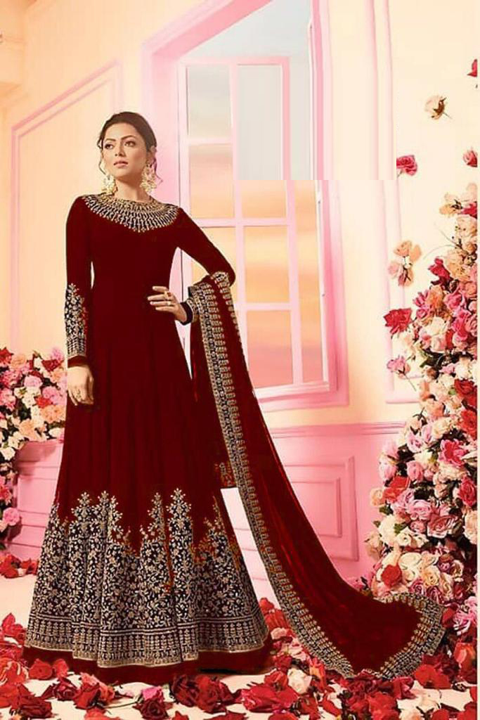 Drashti Dhami Faux Georgette Anarkali Suit In Maroon Colour