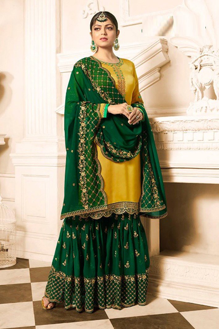 Drashti Dhami Yellow & Green Satin Georgette Embroidered Sharara Style Suit