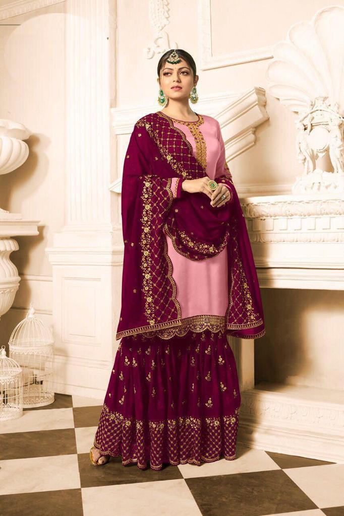 Designer  Drashti Dhami Satin Georgette Pink And Purple Sharara Suit