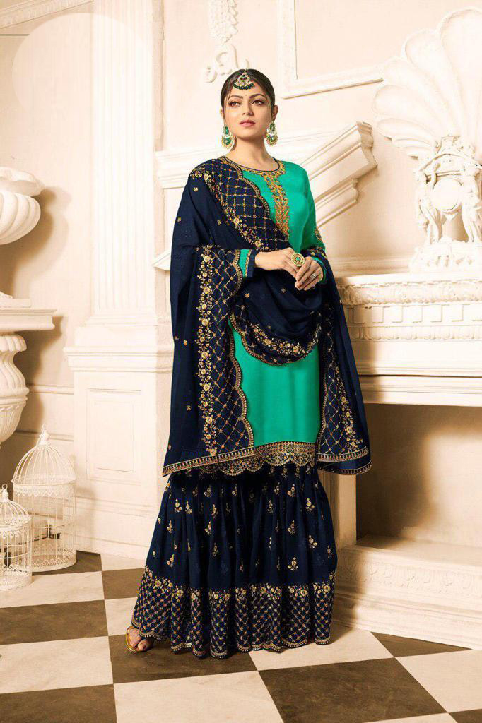 Designer Drashti Dhami  Satin Georgette Green And Blue Sharara Suit