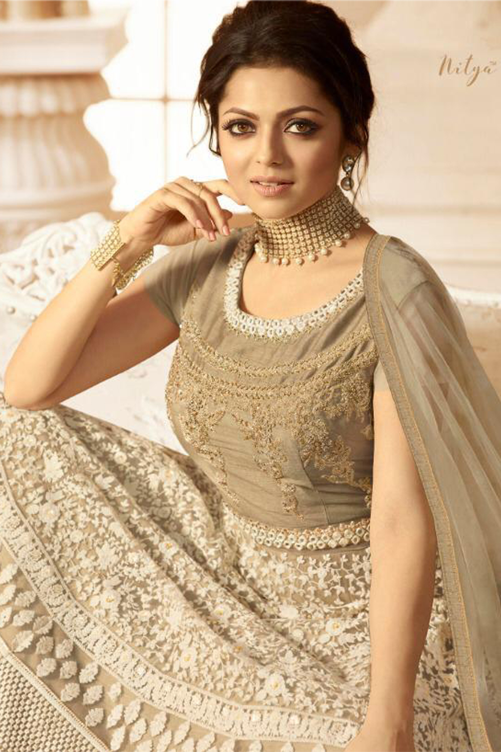 New Drashti Dhami Cream Color Salwar Suit
