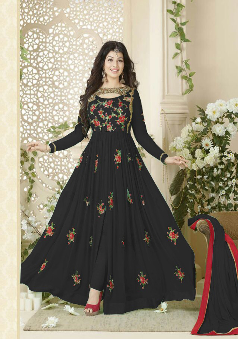 Designer Beautiful Black Flower Printed Long Anarkali Suit