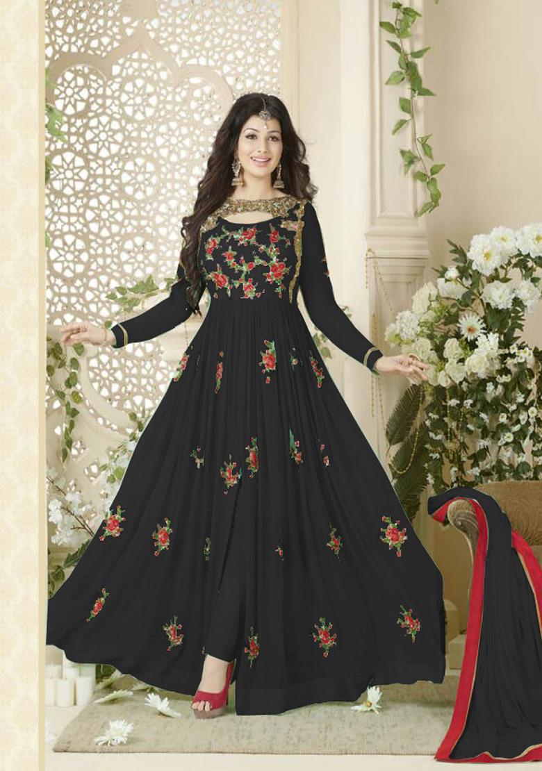 Designer Beautiful Black Flower Printed Long Anarkali Suit