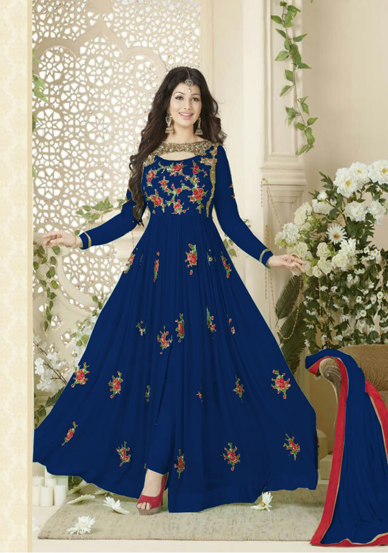 Designer Beautiful Blue Flower Printed Long Anarkali Suit