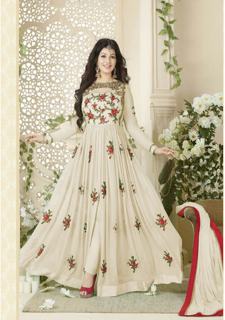 Designer Beautiful Off White Flower Printed Long Anarkali Suit