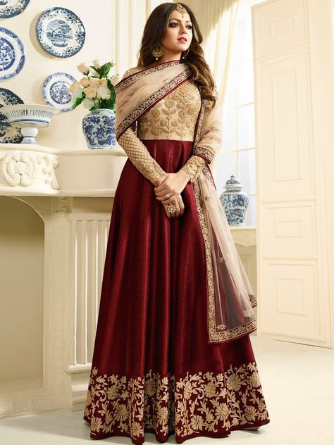 Drashti Dhami Red Banglory Silk Embroidery Semi Stitched Long Anarkali Suit
