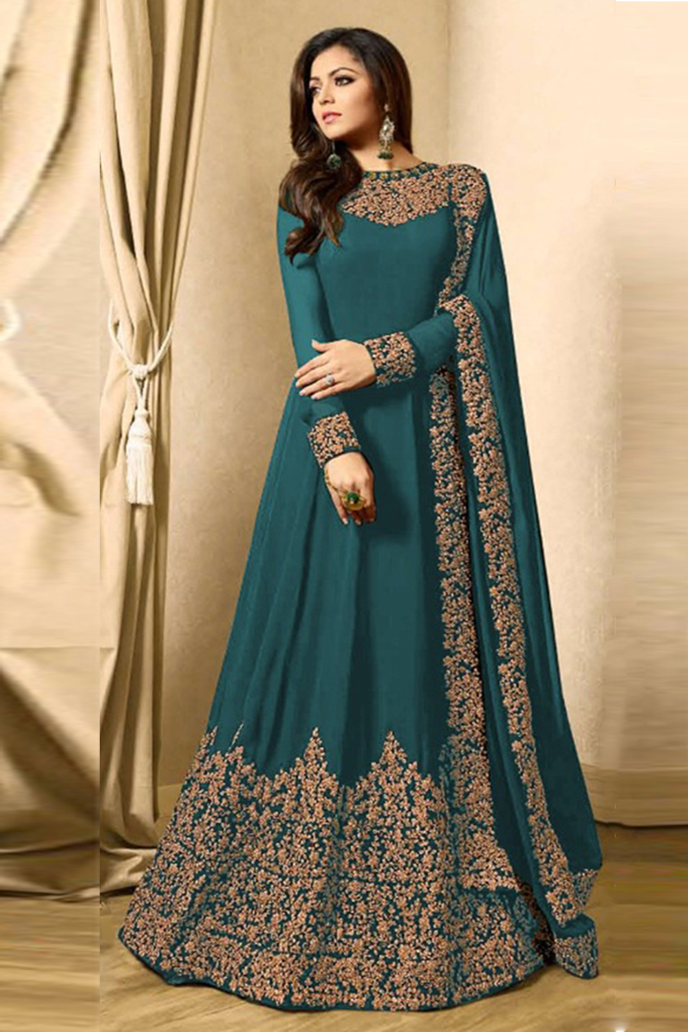 Drashti Dhami Faux Georgette Anarkali Suit In Cyan Colour