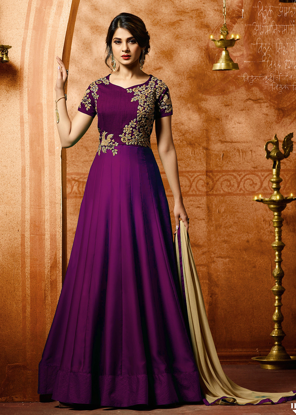 Jennifer Winget Purple Georgette Party Wear Embroidered Anarkali Suit