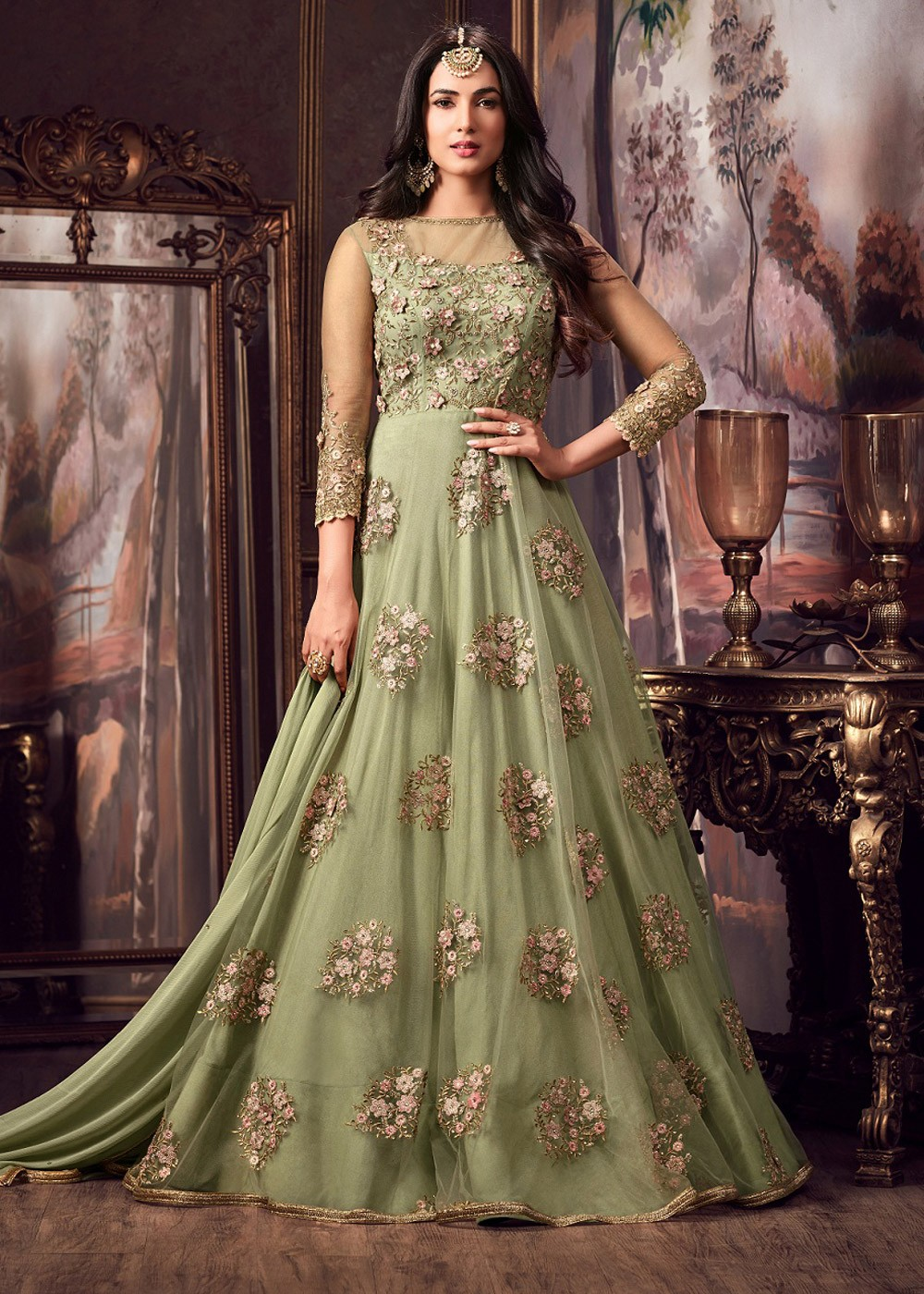 New Embroidery Green Anarkali Indian Dress