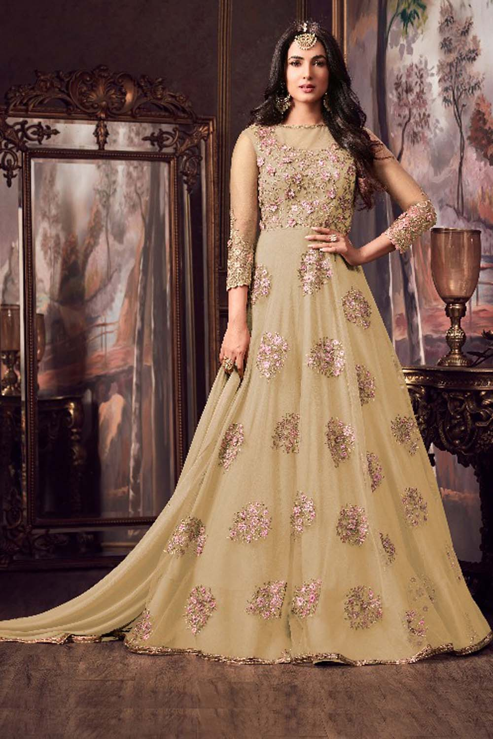 Maisha Yellow Party Wear Embroidery Anarkali Suit