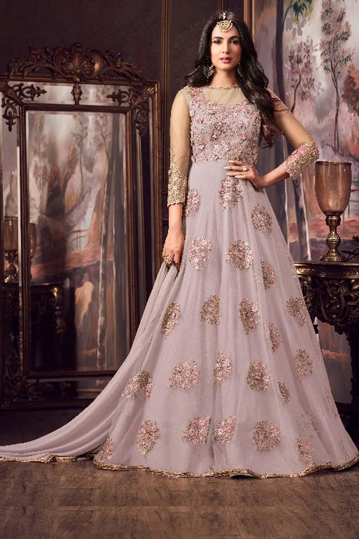 Maisha Grey Party Wear Embroidery Anarkali Suit