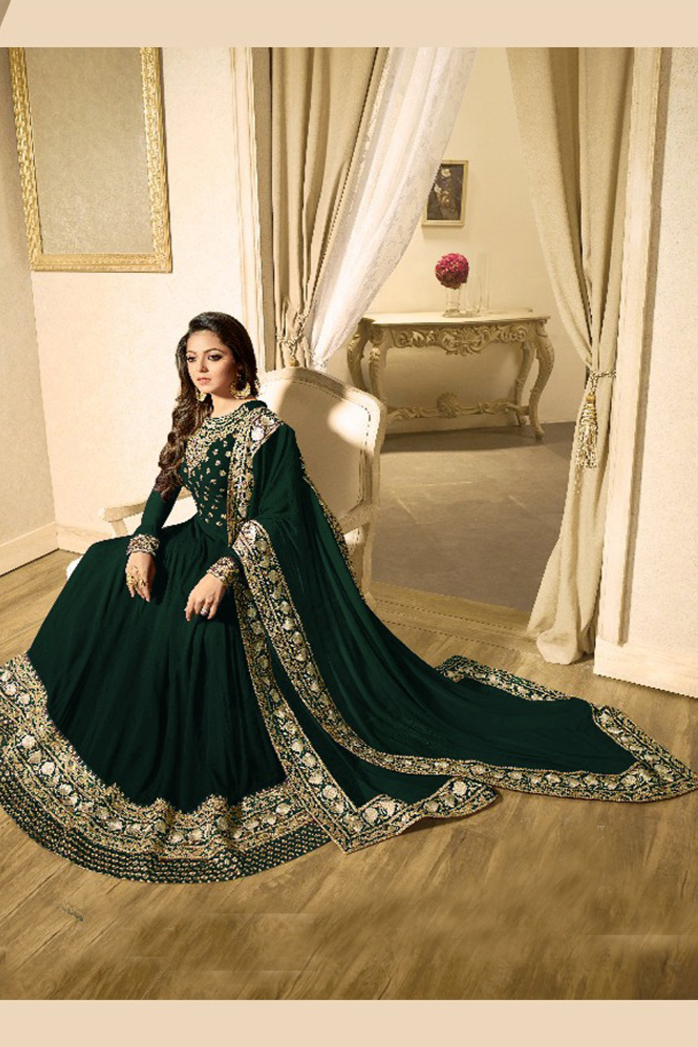 Drashti Dhami Faux Georgette Green Color Anarkali Suit