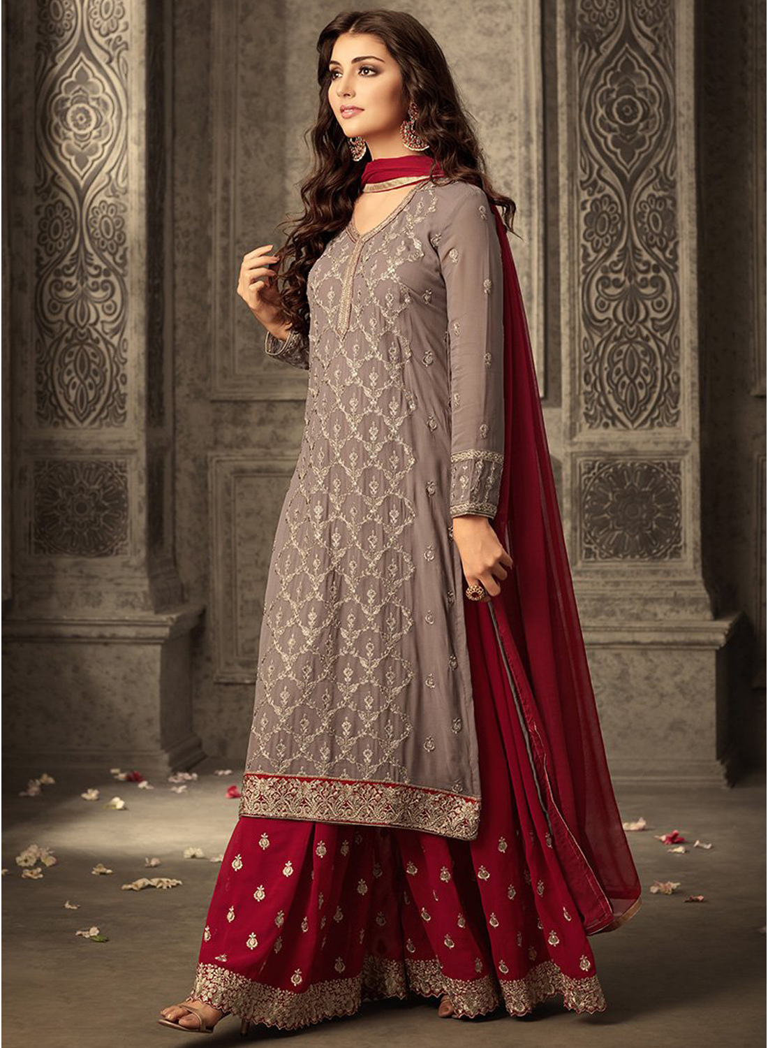 Brown And Red  Designer Sharara Suit