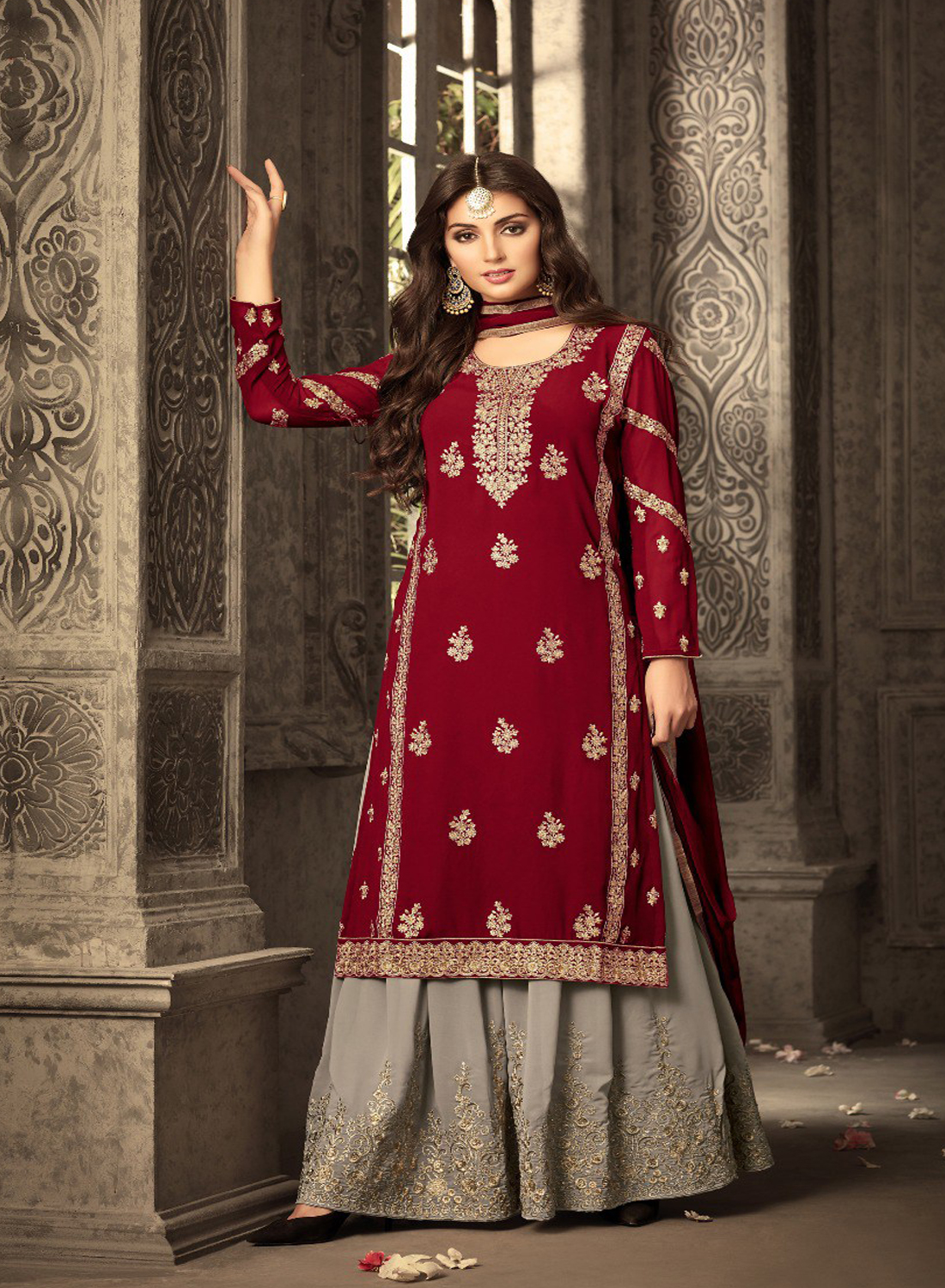 Red Heavy Georgette Embroidery Work With Designer Sharara Suit