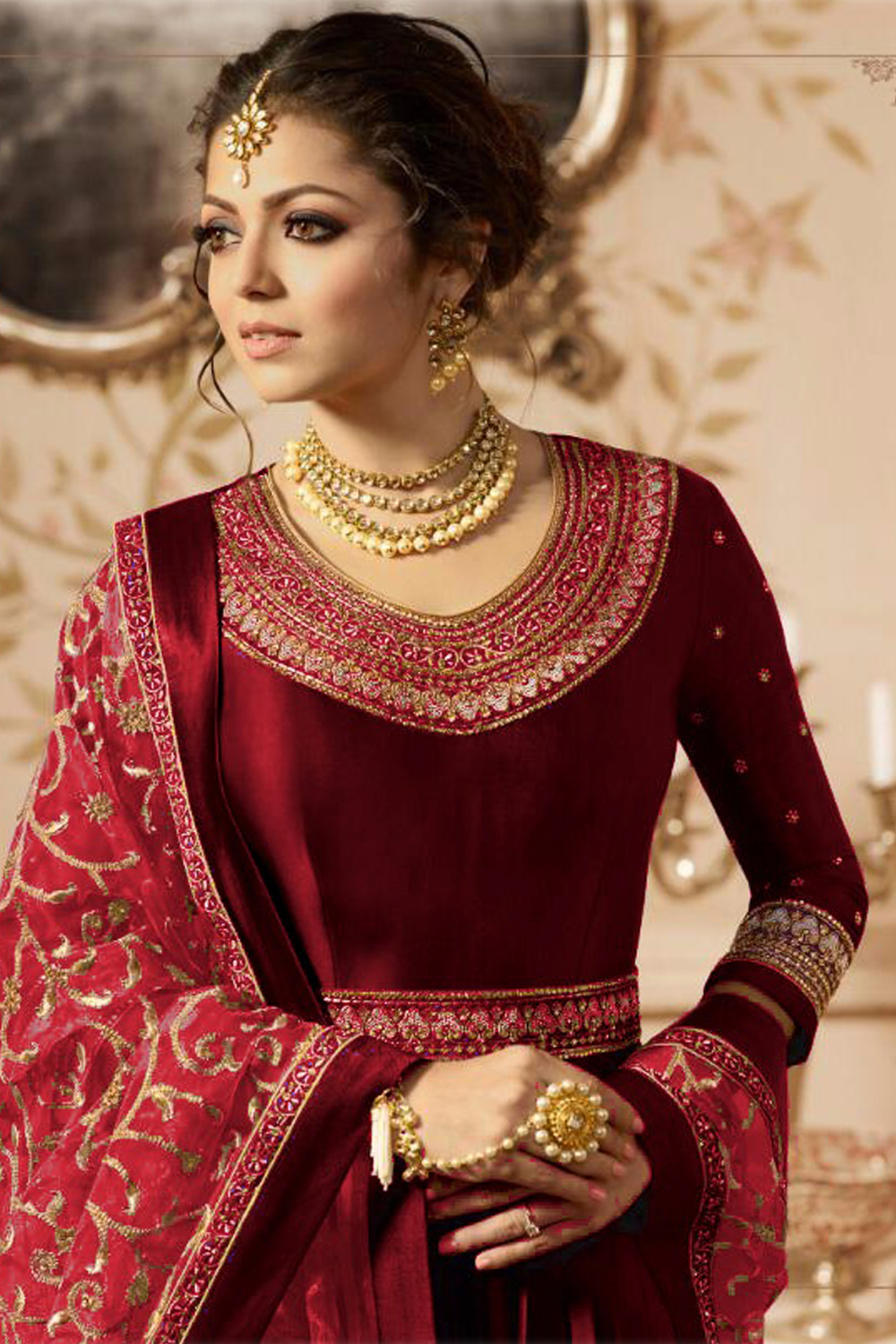 Designer Drashti Dhami Heavy Faux Georgette Red Embroidered Suit