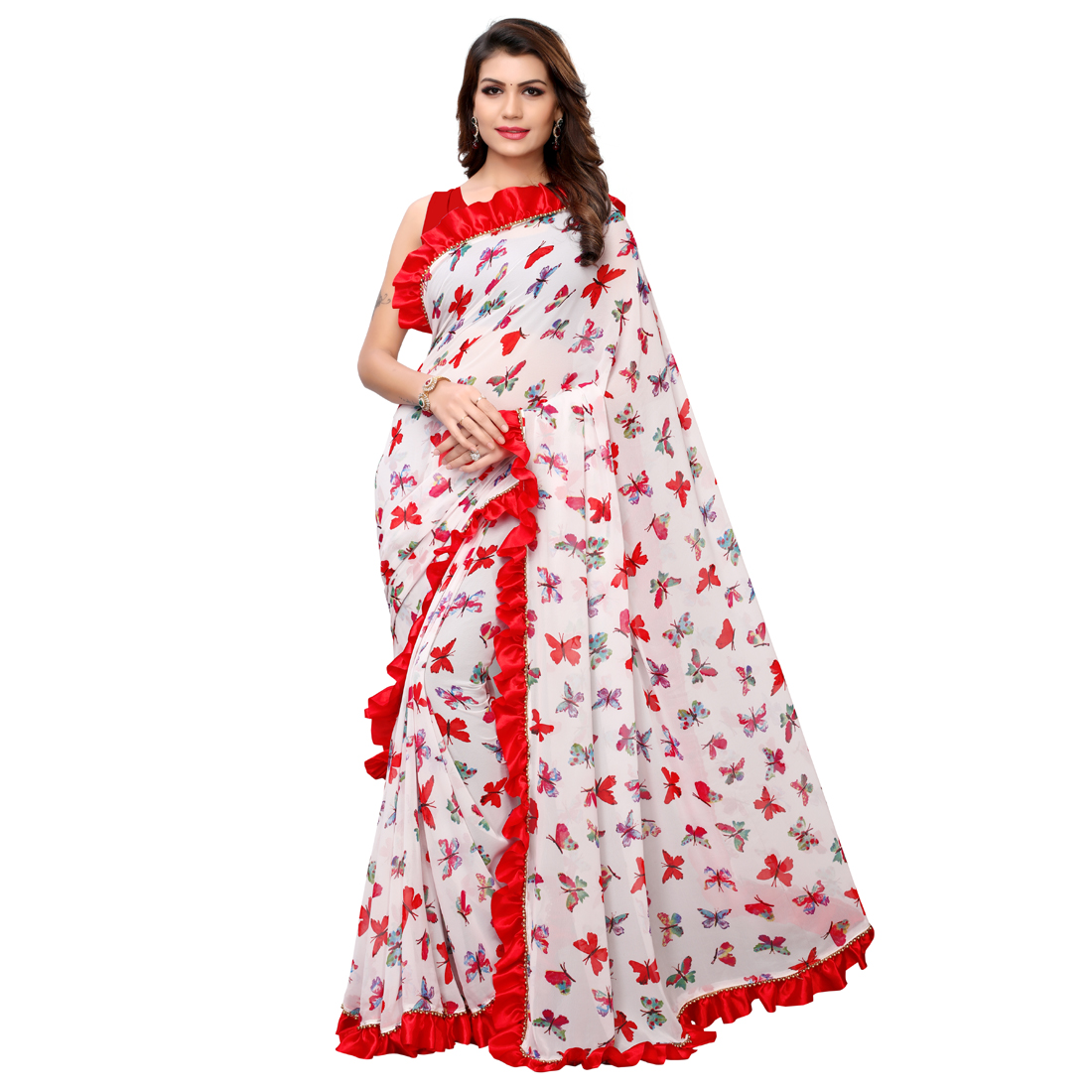 Desinger Blue And White Ruffle Georgette Printed Saree 2020