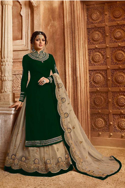 Drashti Dhami Designer Fox Georgette Green Embroidered Suit&Lehenga