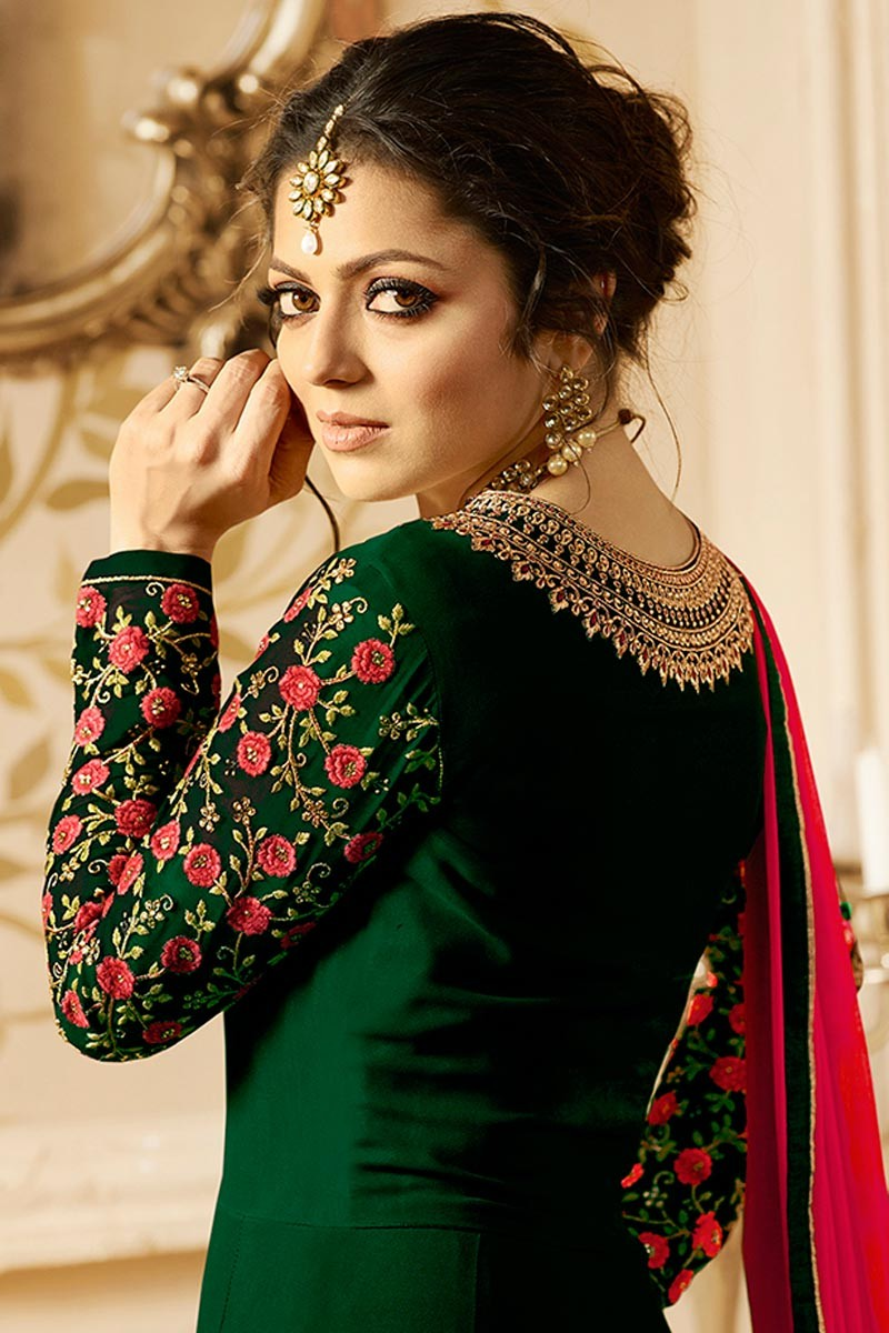 Drashti Dhami Beautiful Lt Design Green Color Embroidered Suit
