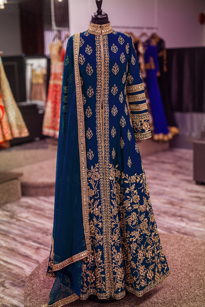 New Designer Blue Banglory Silk Embroidery Semi-Stitched Wedding Salwar Suit