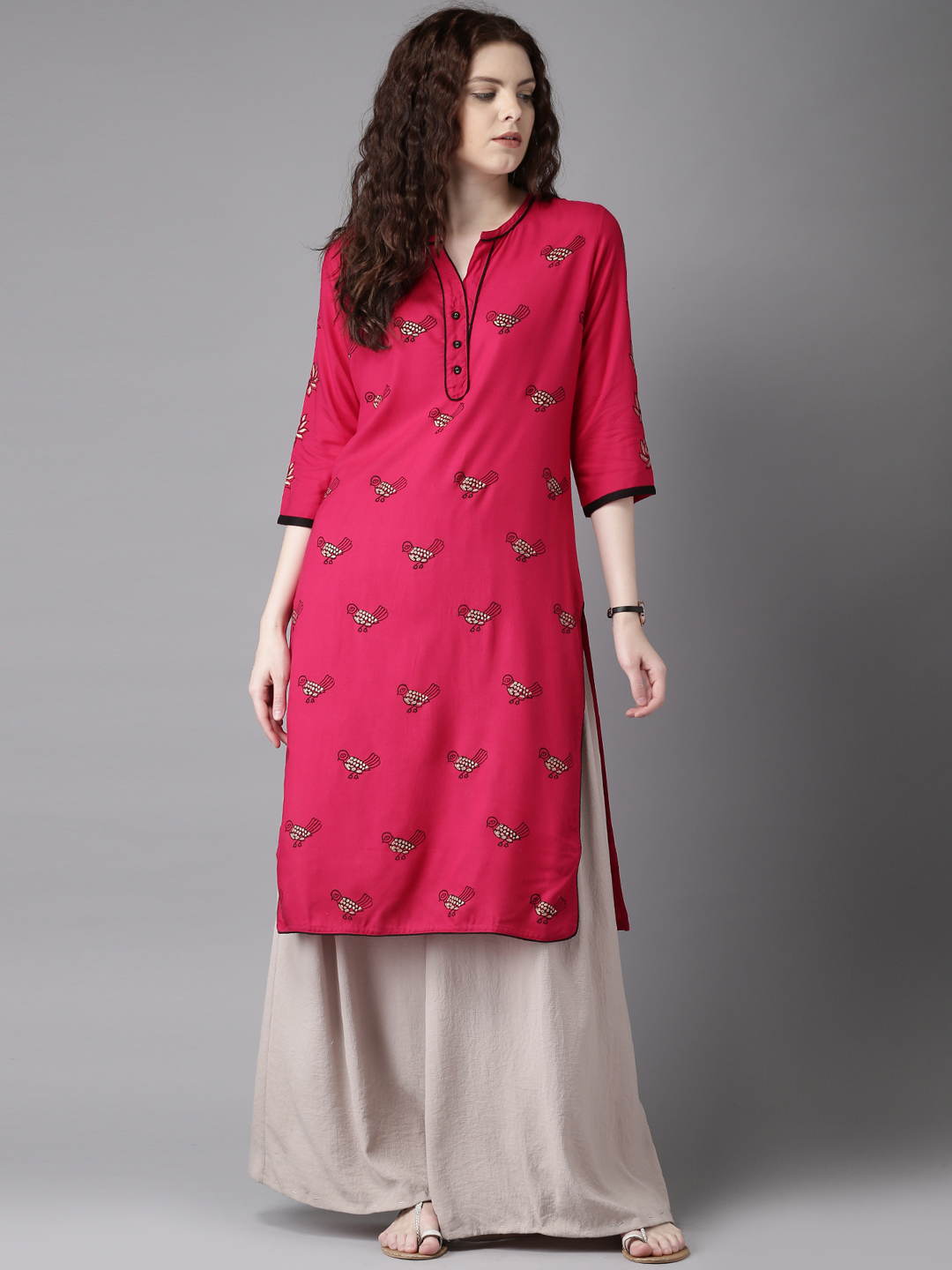 Pink Color Sparrow Embroidered Designer Kurti