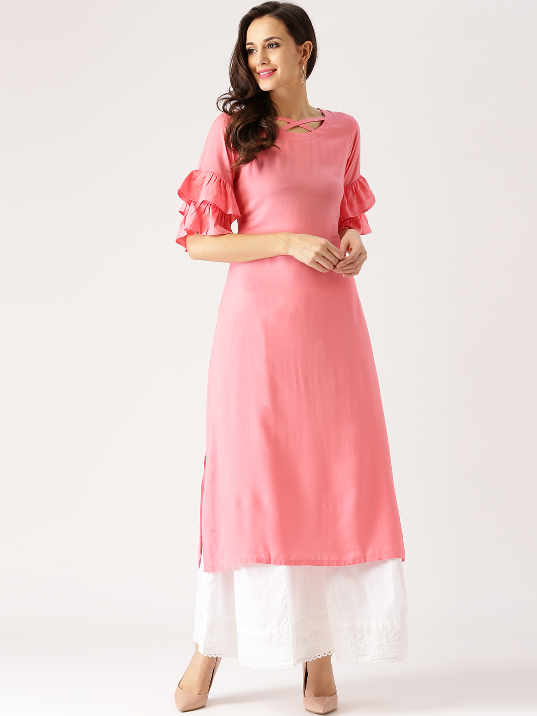New Designer Pink Long Kurti Back