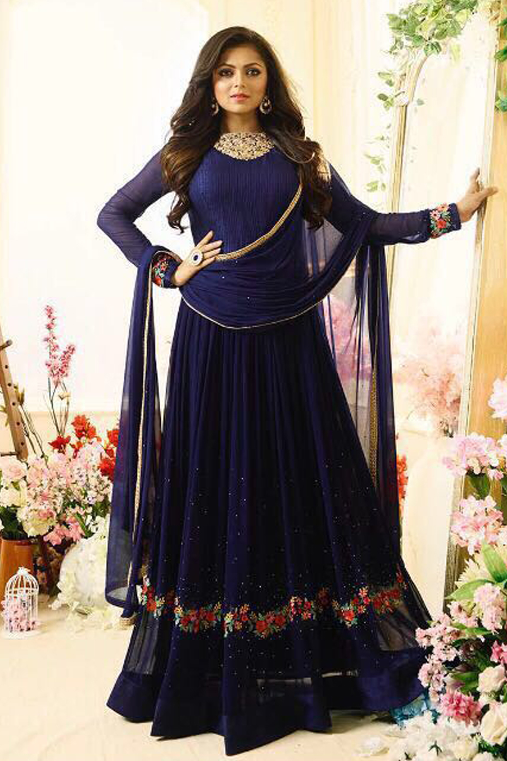 Drashti  Dhami Designer  Georgette  Embroidered Work Partywear Suit