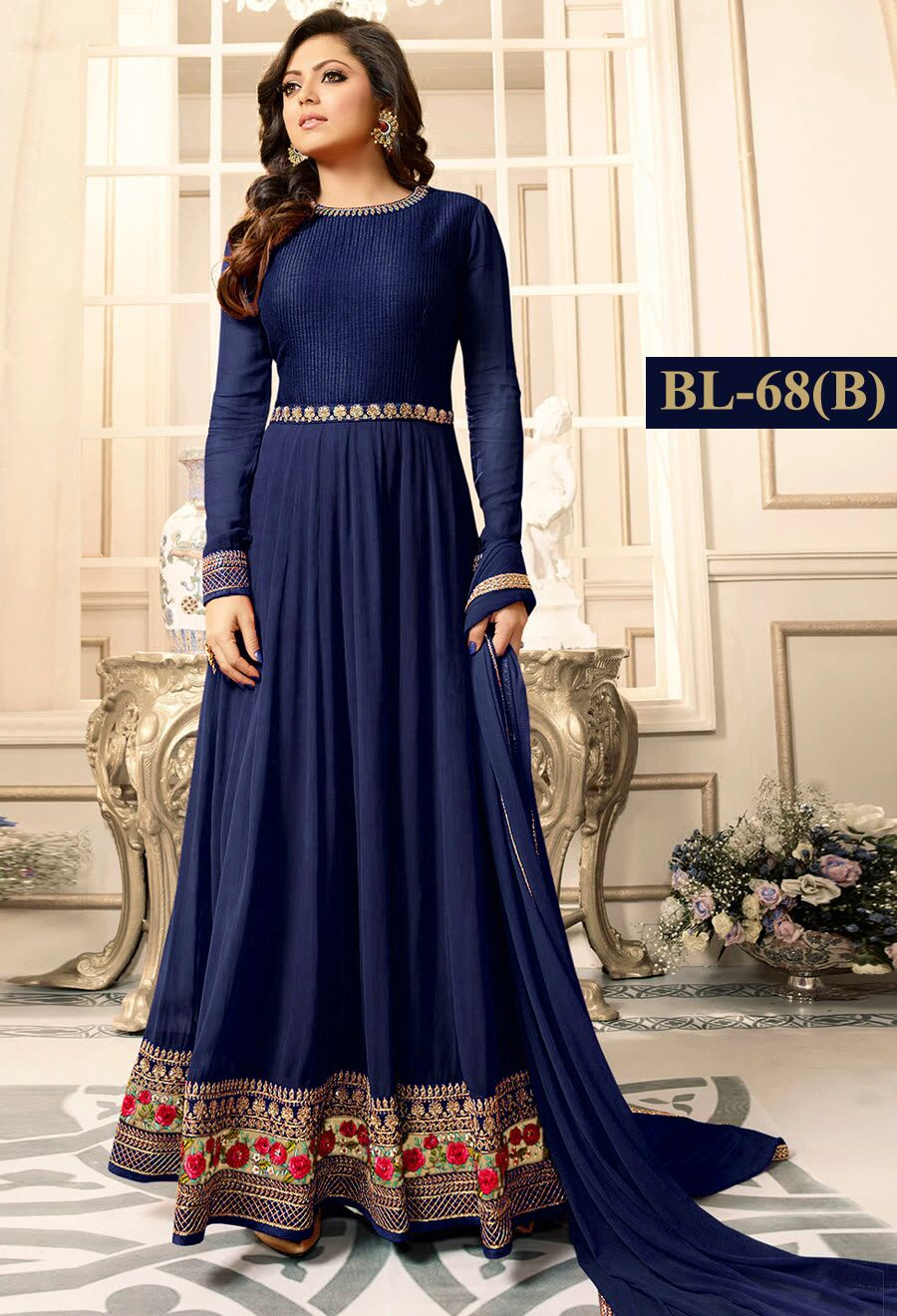 Navy Blue With Floral Embroidery Anarkali Suit