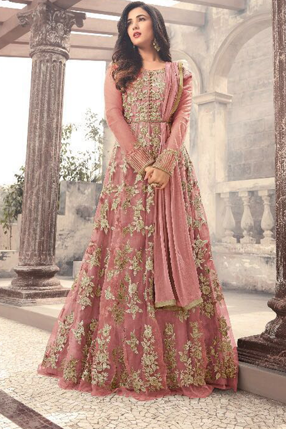 Sonal Chauhan Designer Peach Color Latest Indian Salwar Dress