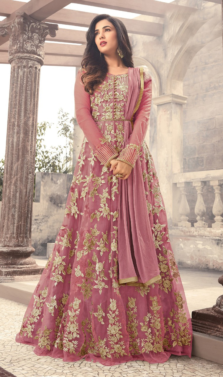 Sonal Chauhan Designer Peach Color Long Gown With Fancy Work