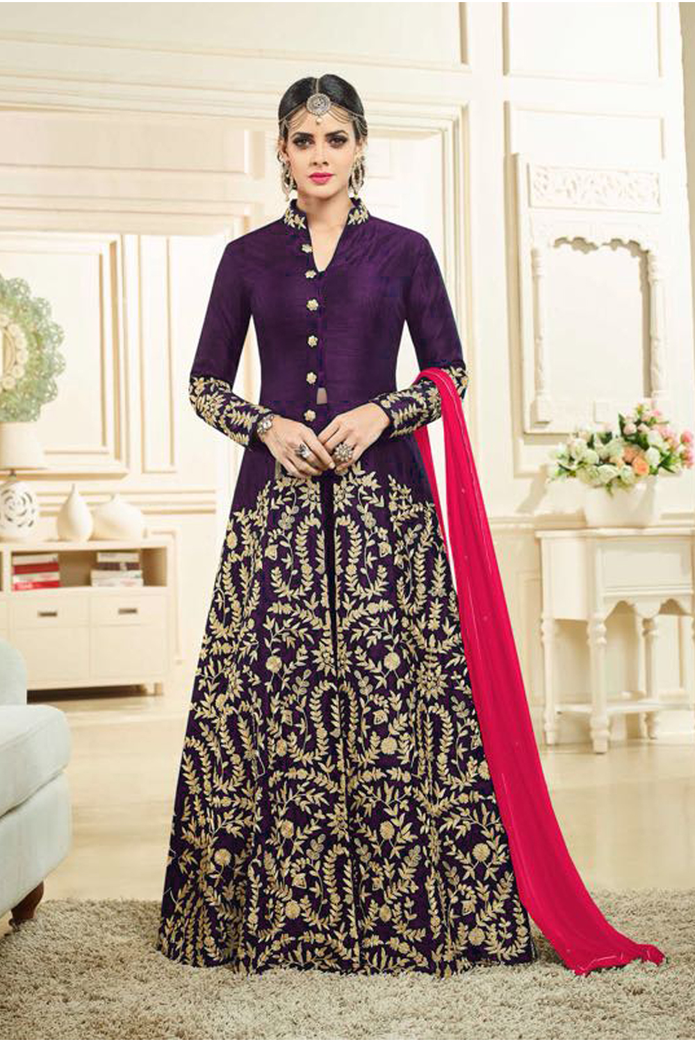 Designer Purple Color Heavy Banglory Silk Satin Embroidered Suit