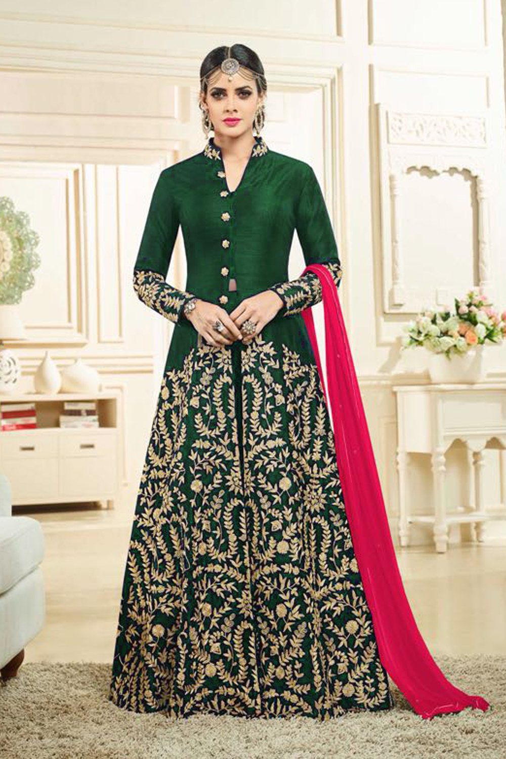 Designer Green Color Heavy Banglory Silk Satin Embroidered Suit