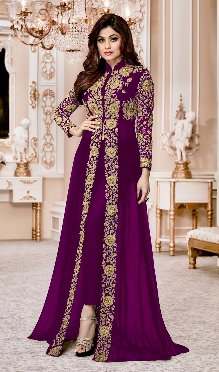 Shamita  Shetty Purple Heavy Designer Suit