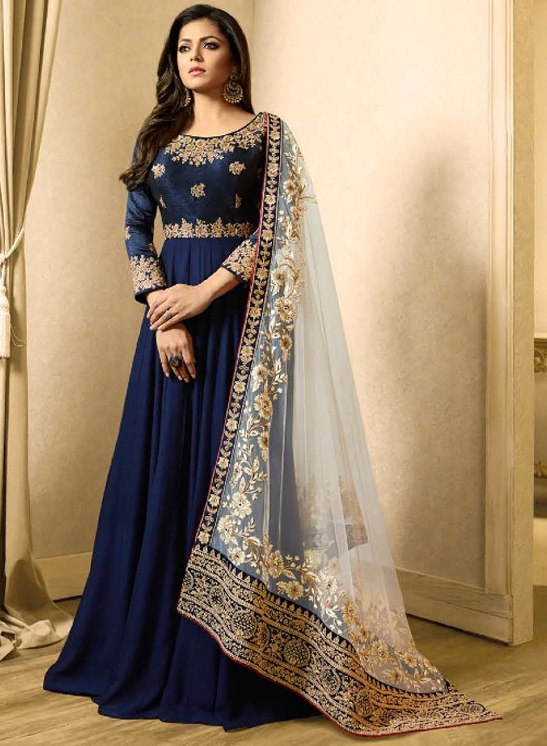 Drashti Dhami Style Navy Blue Gown Suits