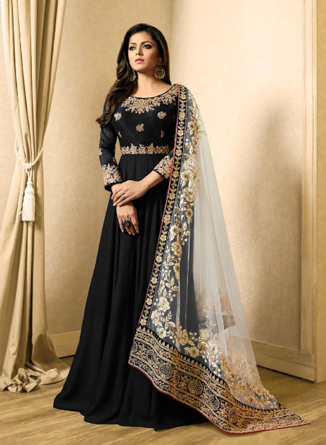 Drashti  Dhami Style Black Gown Suits